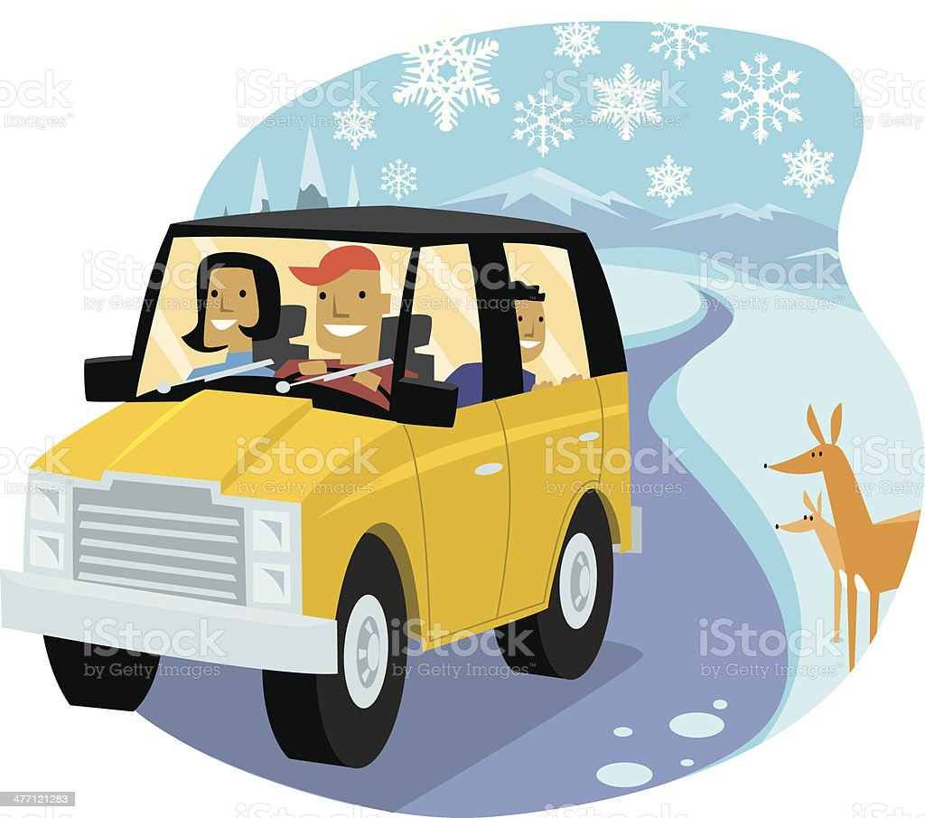 Family S U V Snow C royalty-free stock vector art