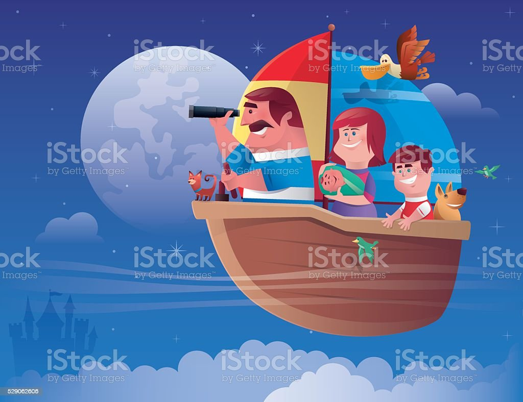 family sailing vector art illustration