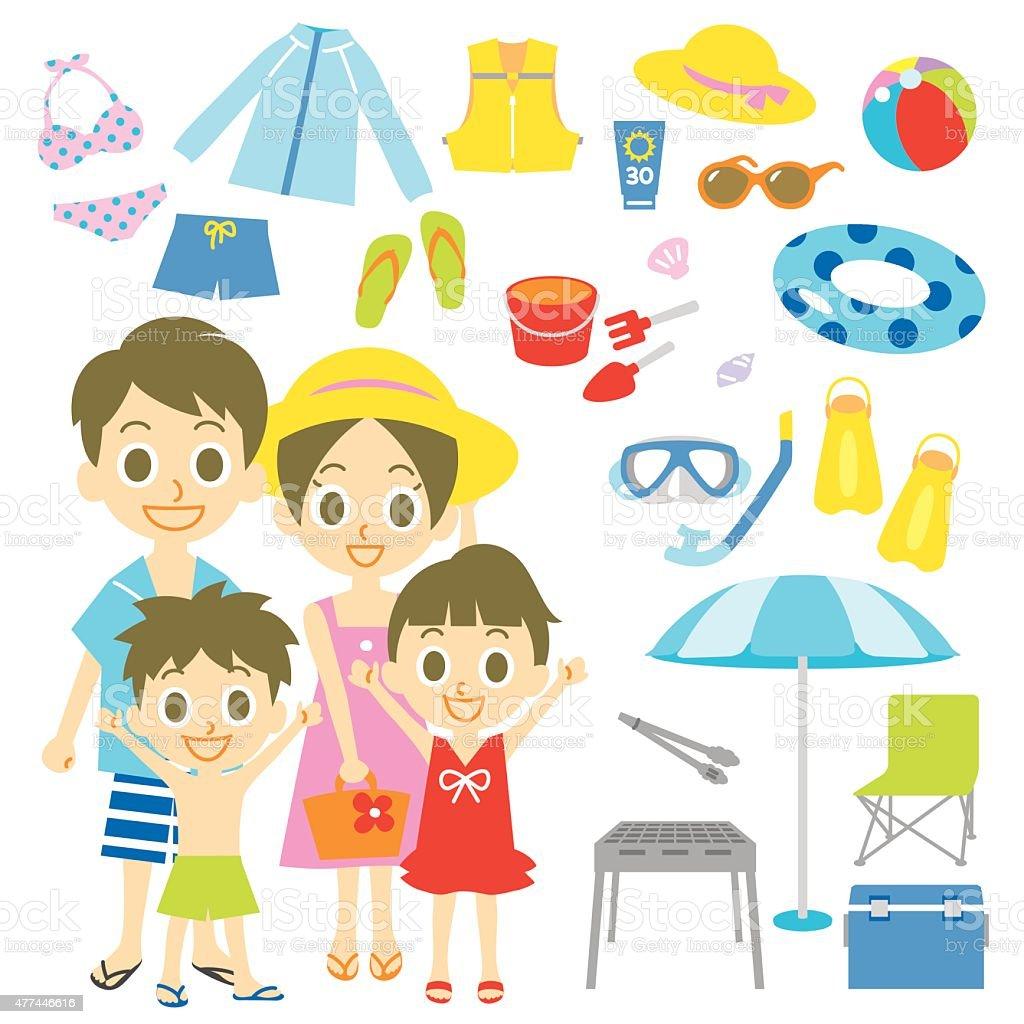Family seaside pool resort items vector art illustration