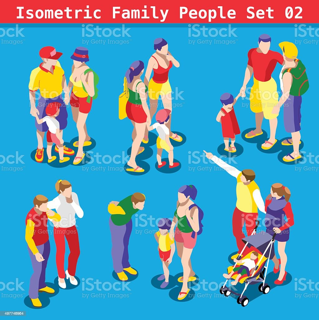 Family Set 02 People Isometric vector art illustration