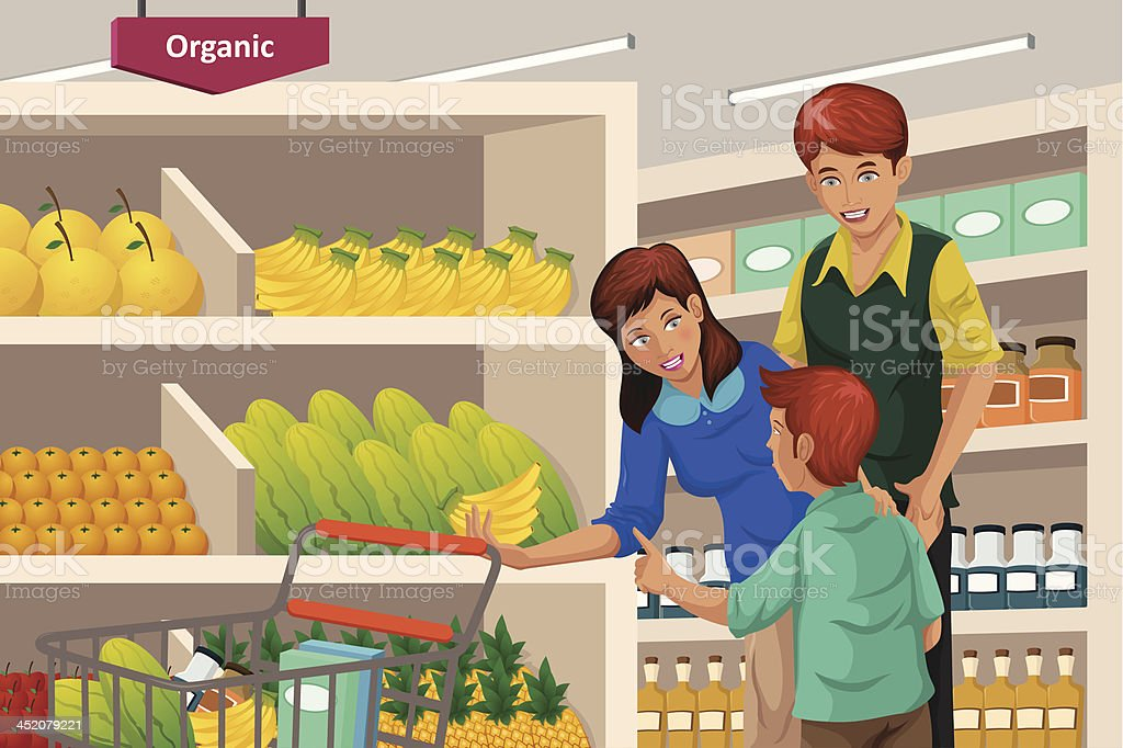 Family shopping fruits in a supermarket royalty-free stock vector art