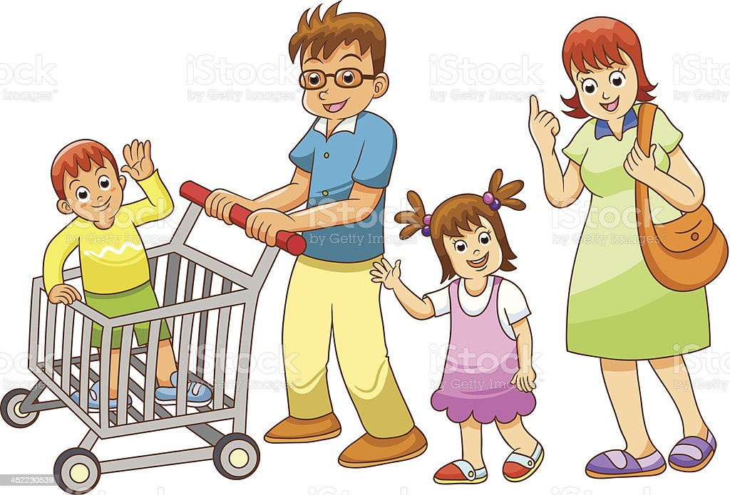 family shopping  in department store royalty-free stock vector art