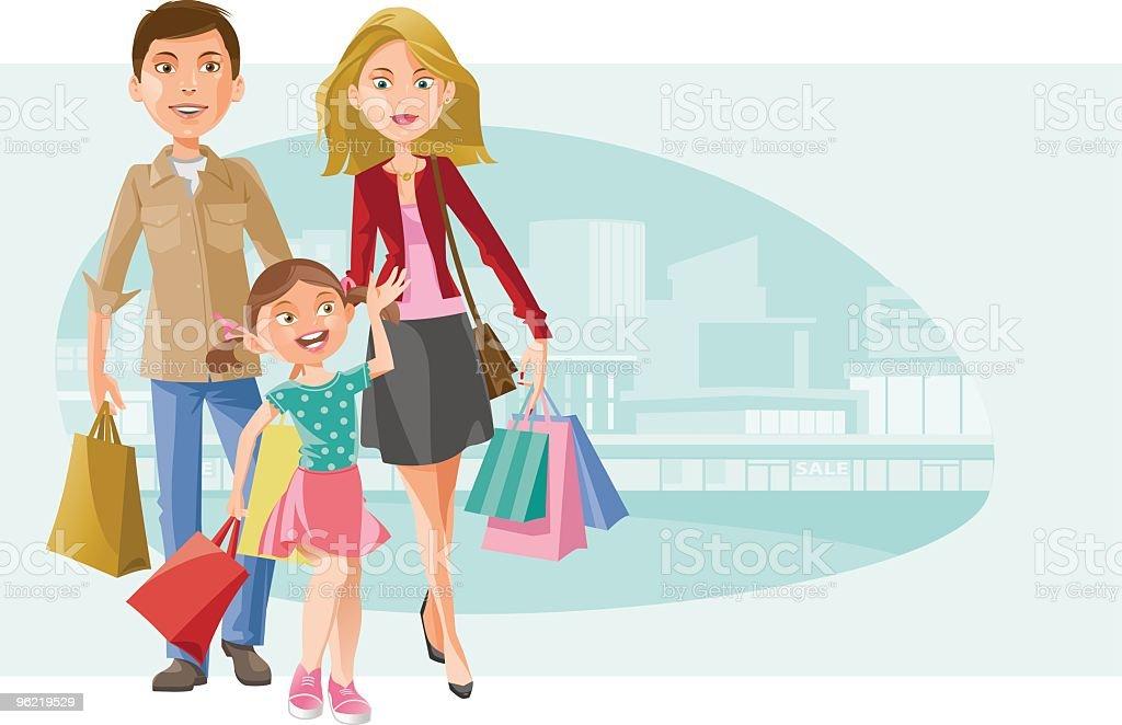 Family Shopping royalty-free stock vector art