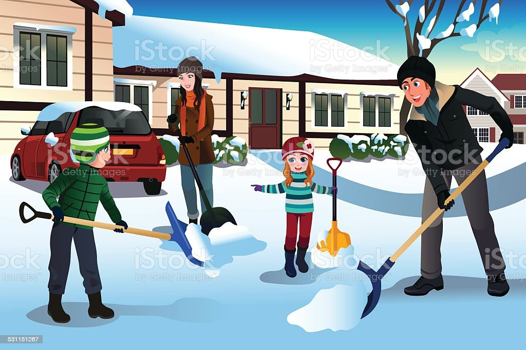 Family shoveling snow in front of their house vector art illustration