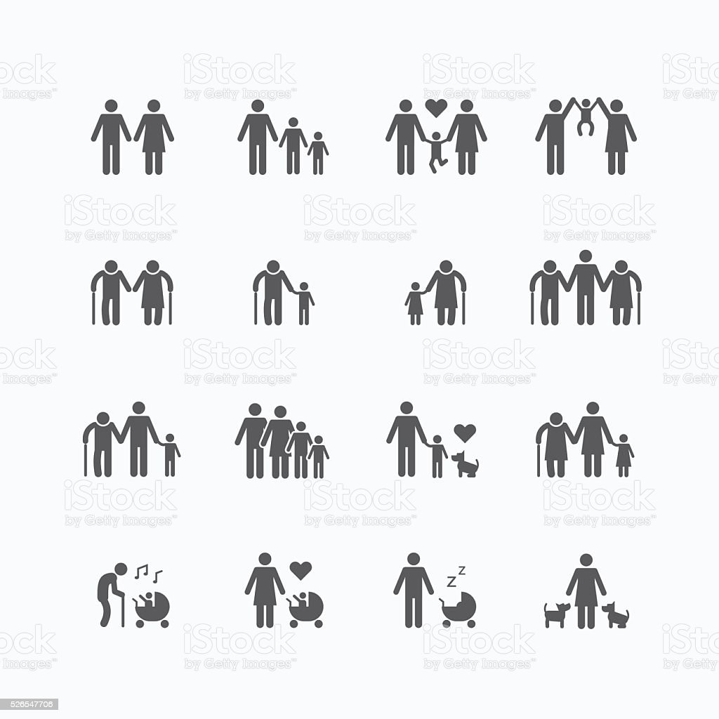 Family silhouette icons flat design vector set. vector art illustration