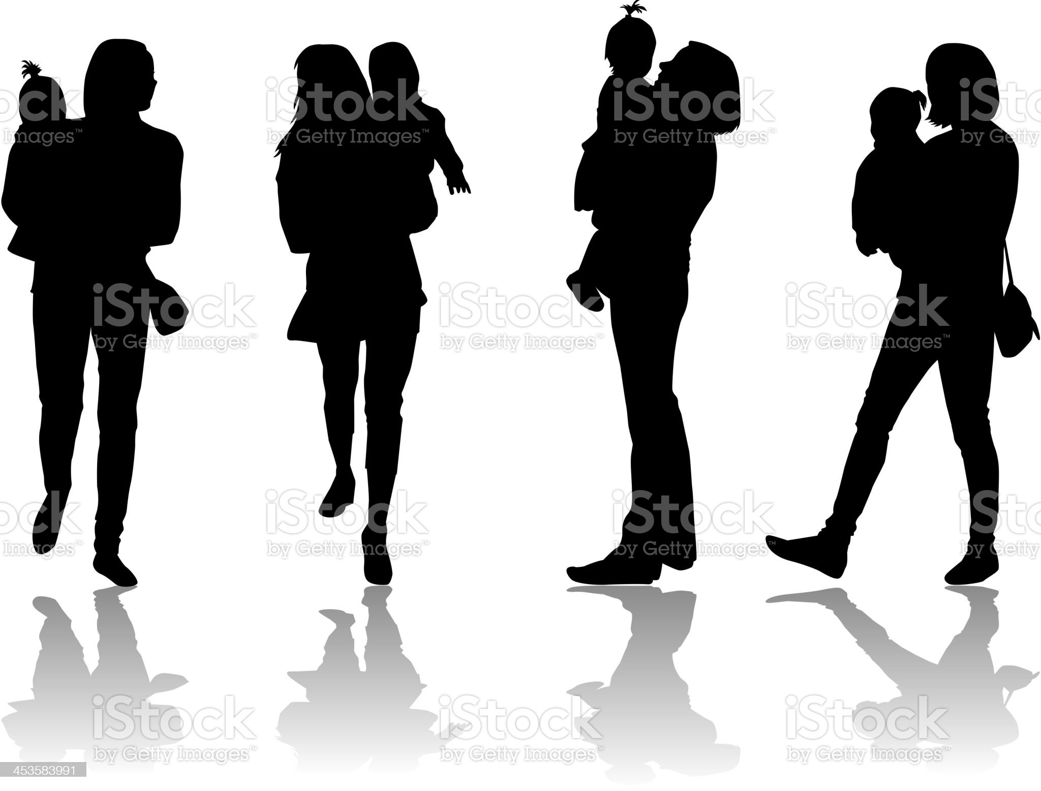 Family silhouette royalty-free stock vector art