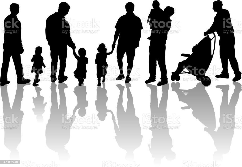 Family silhouette. vector art illustration