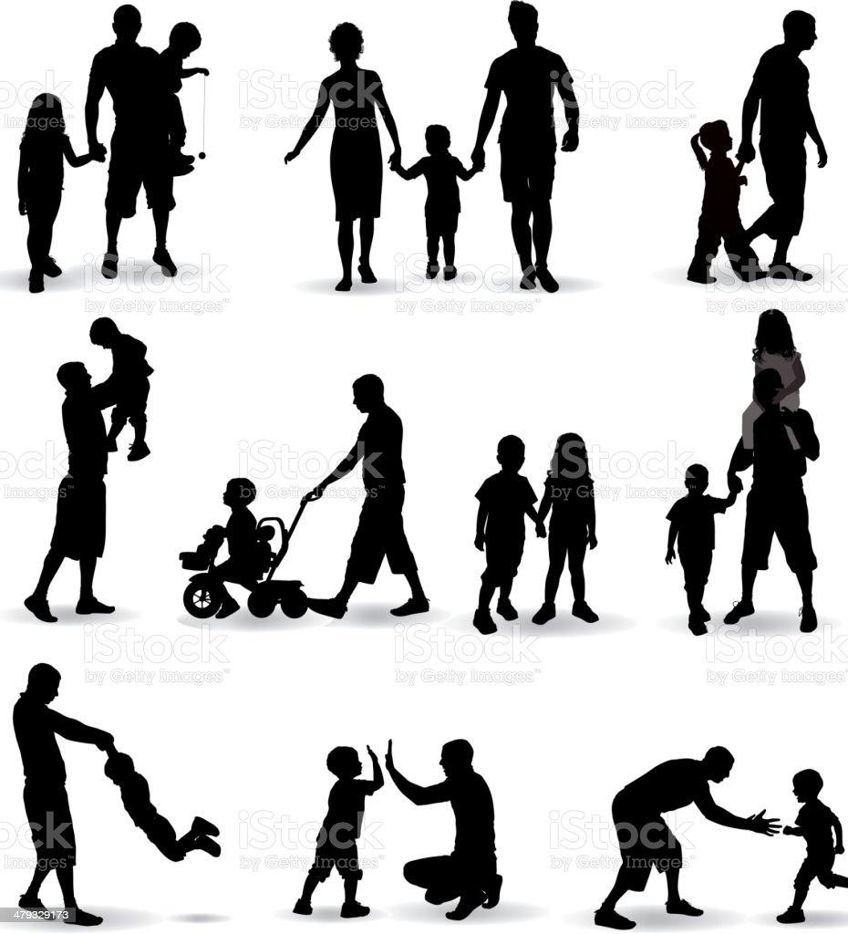 Family Silhouette vector art illustration