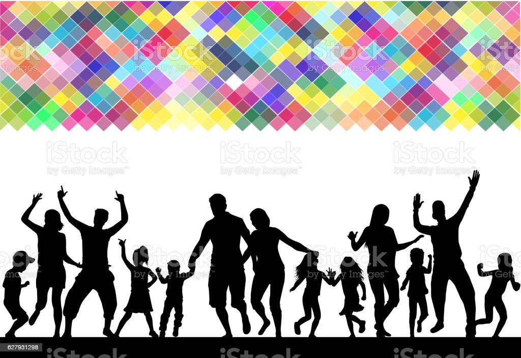 Family silhouettes . Abstract background. vector art illustration