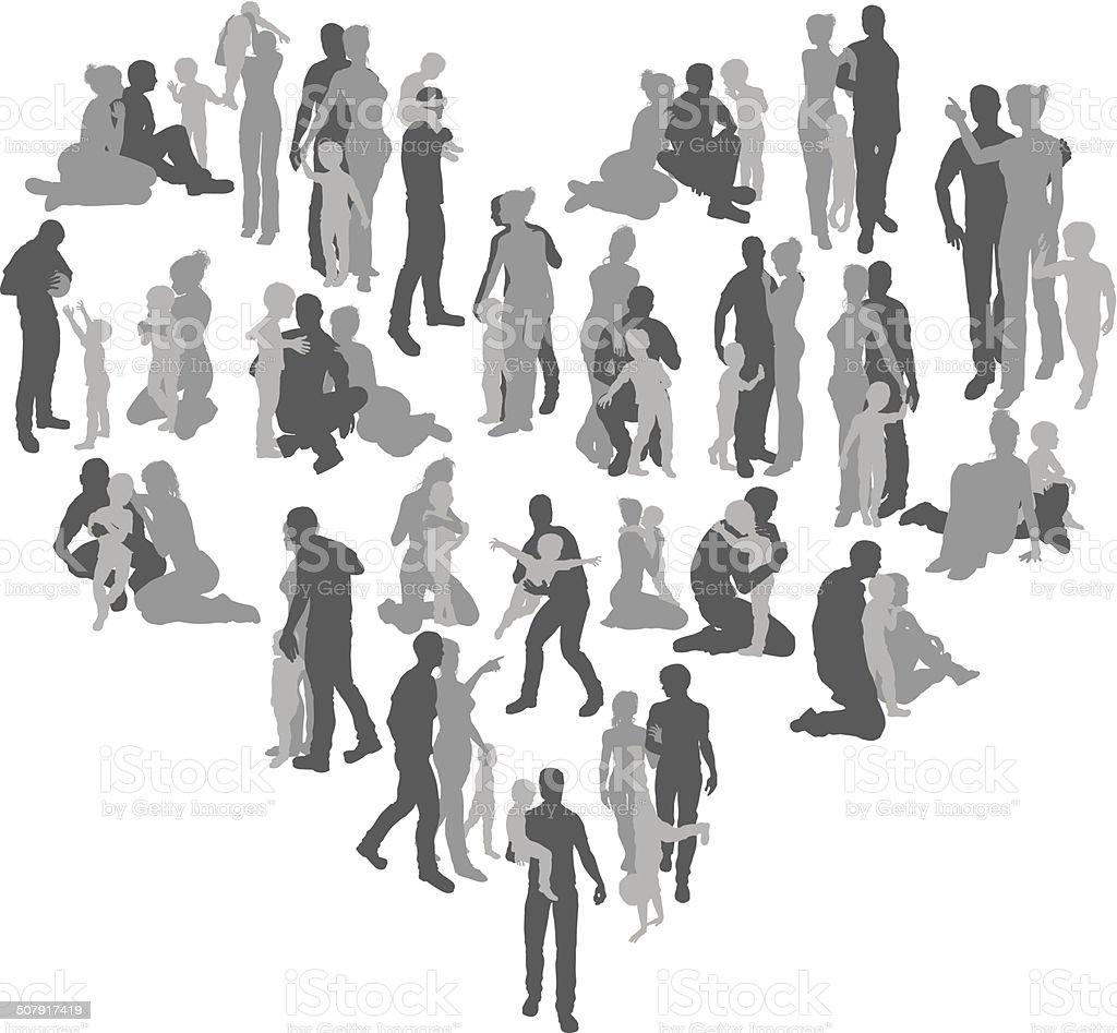 Family silhouettes heart vector art illustration