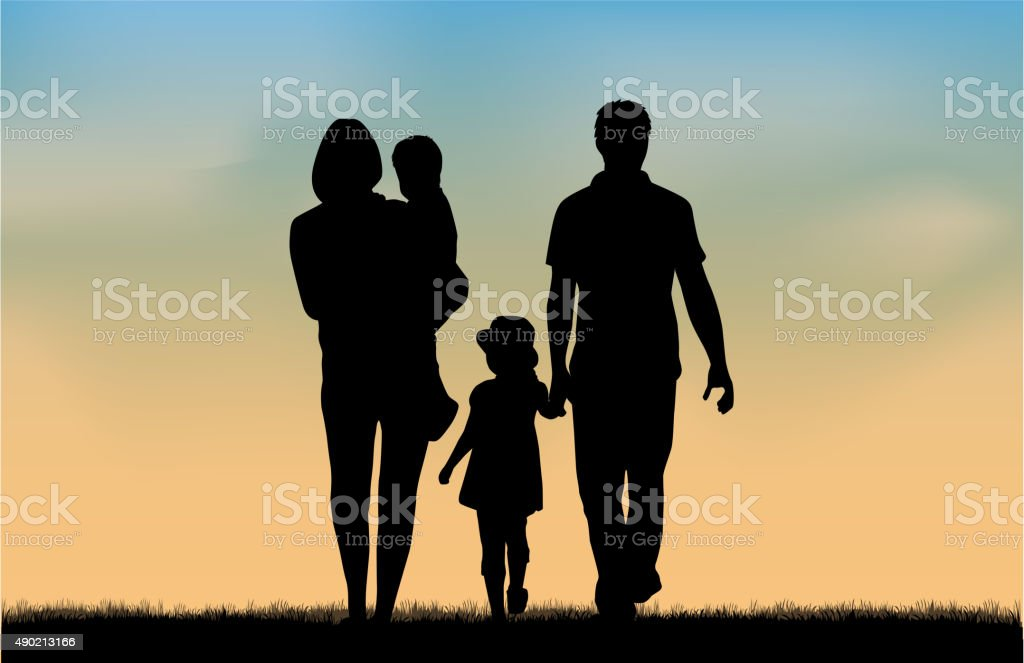 Family silhouettes in nature. vector art illustration