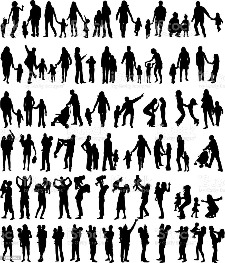 Family silhouettes vector art illustration