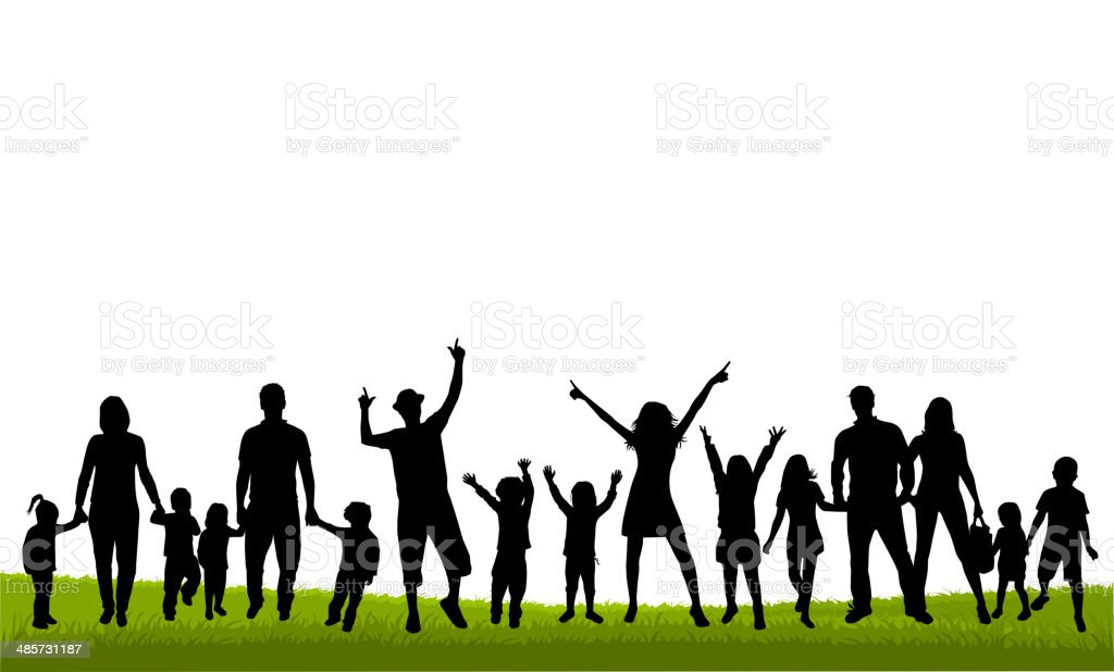 Family silhouettes royalty-free stock vector art