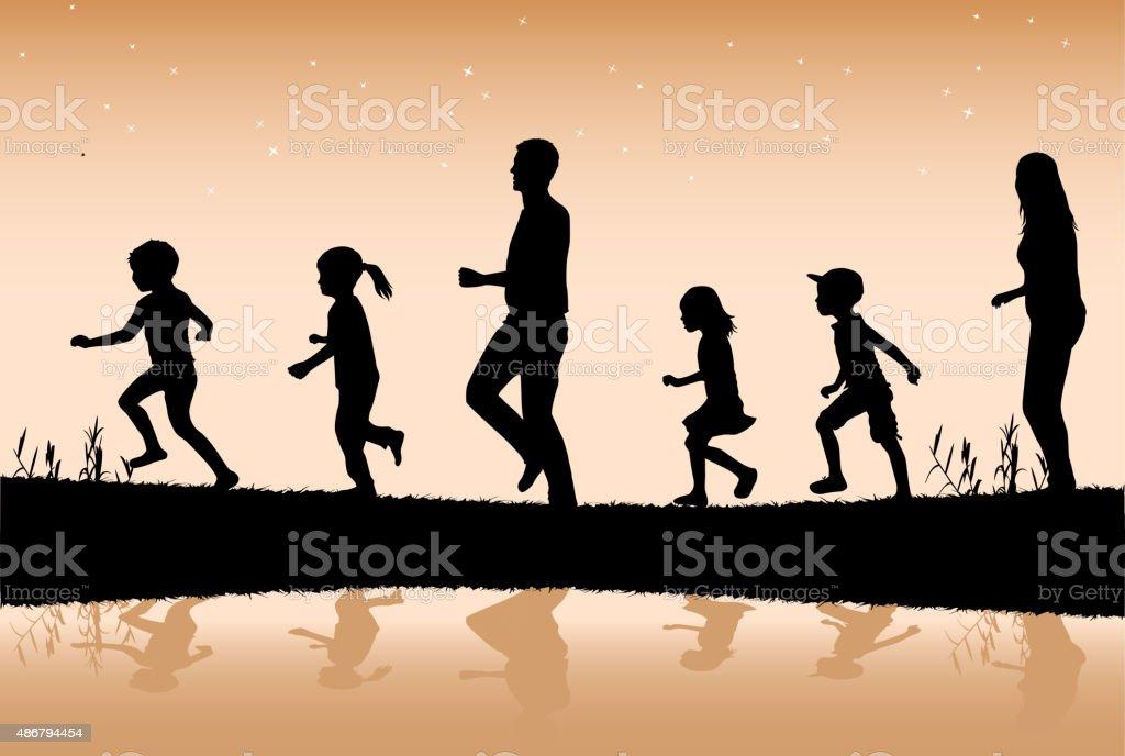 Family silhouettes. vector art illustration