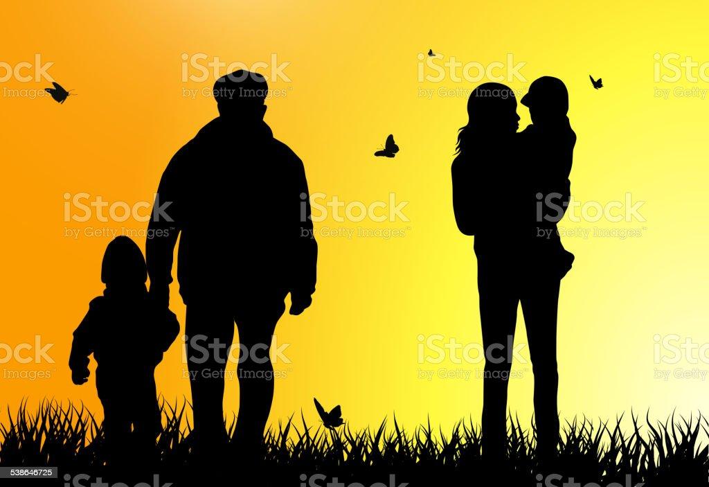 Family silhouettes vector art illustration