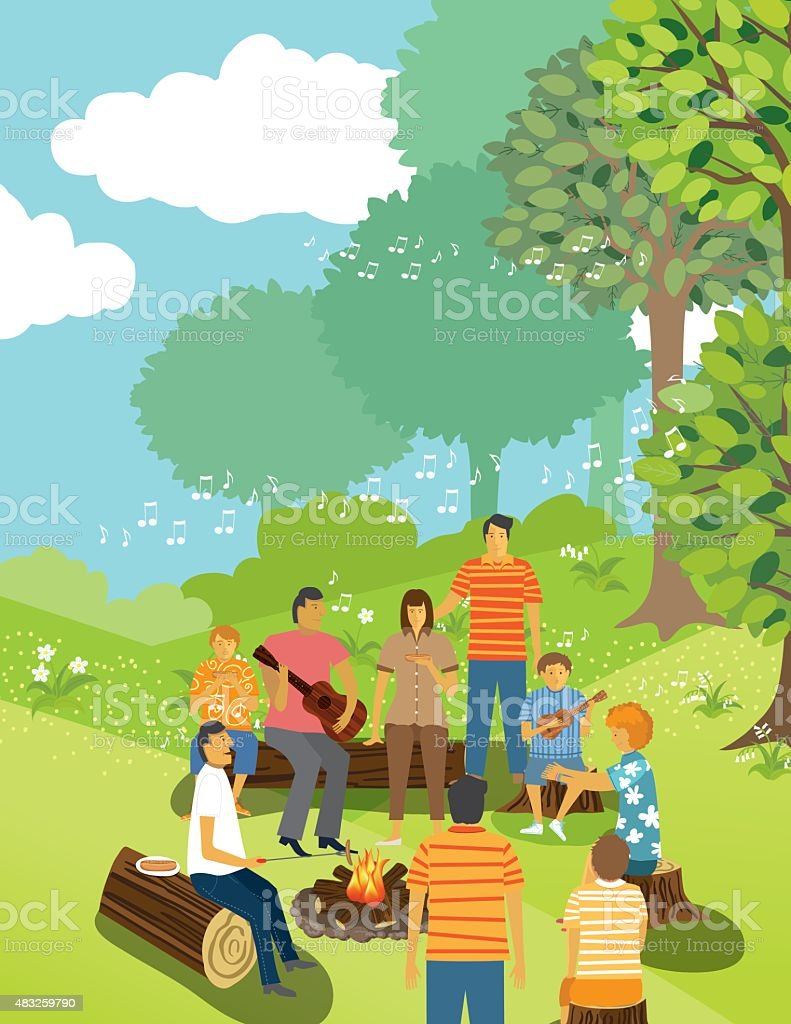 Family Sitting Around A Campfire At A campground vector art illustration