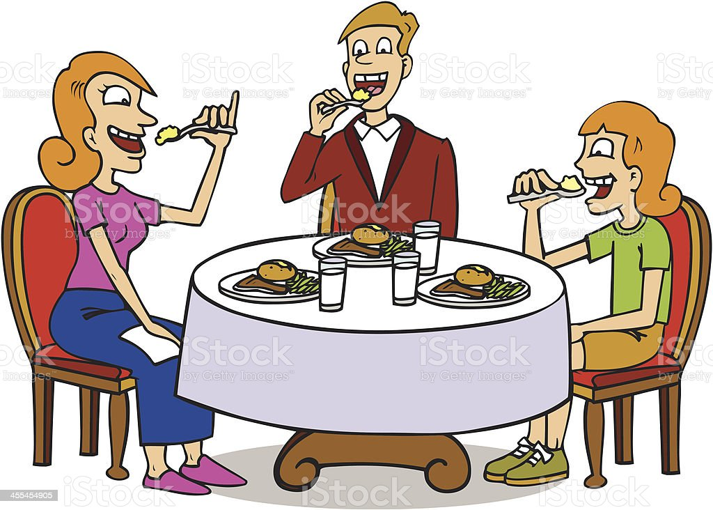 Family Sitting At Dinner Table Eating Food Royalty Free Stock Vector Art