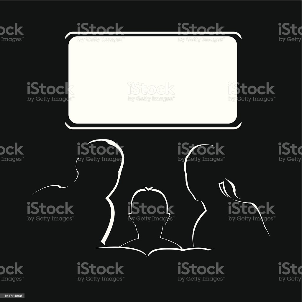 Family sitting on couch watching blank television screen vector art illustration