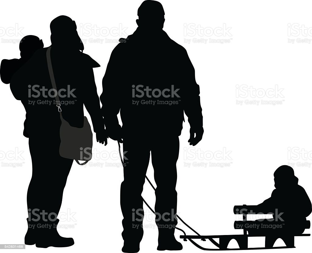Family Sledding Walk vector art illustration