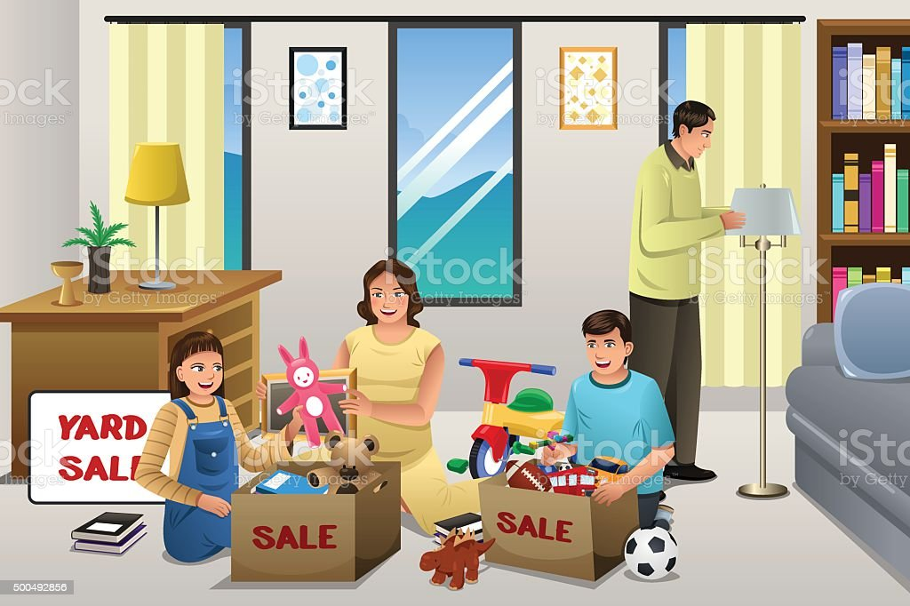 Family Sorting Items for a Garage Sale vector art illustration
