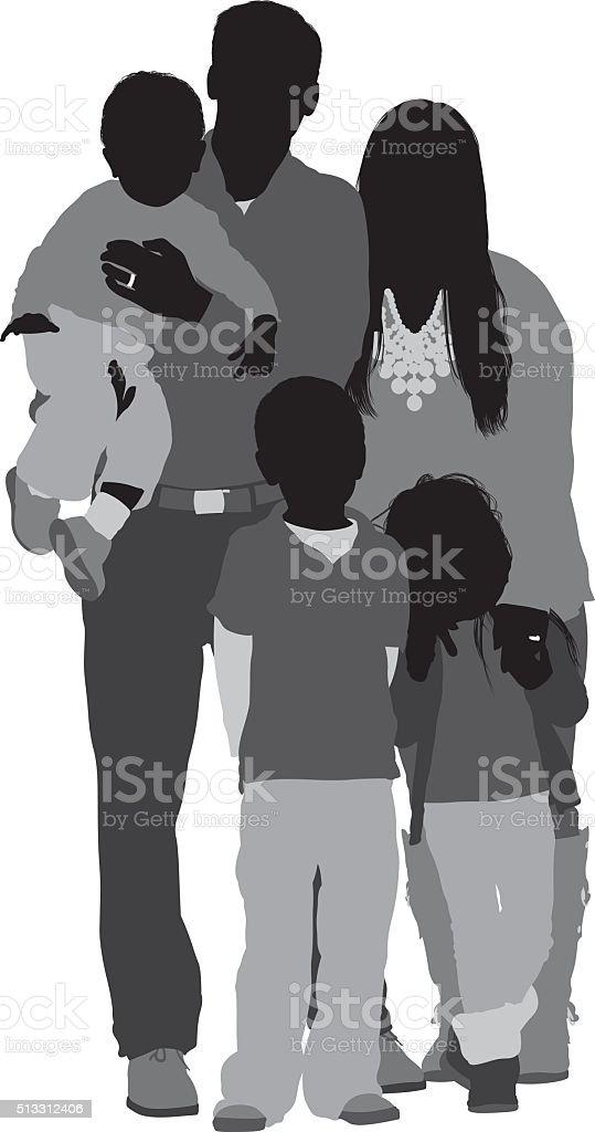 Family standing together vector art illustration