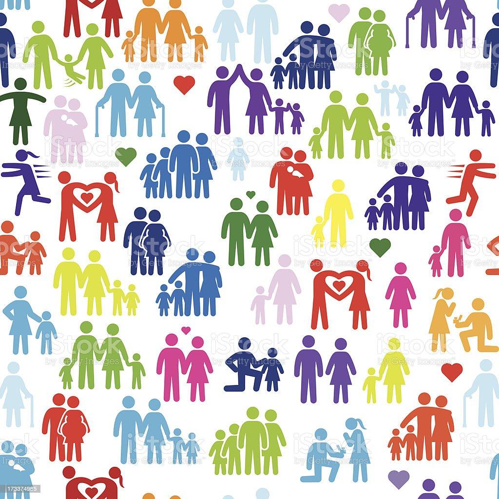 Family Stick Figures Seamless Background vector art illustration