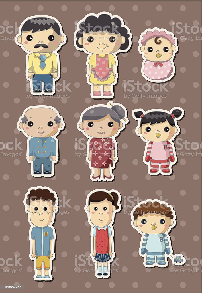 family stickers royalty-free stock vector art