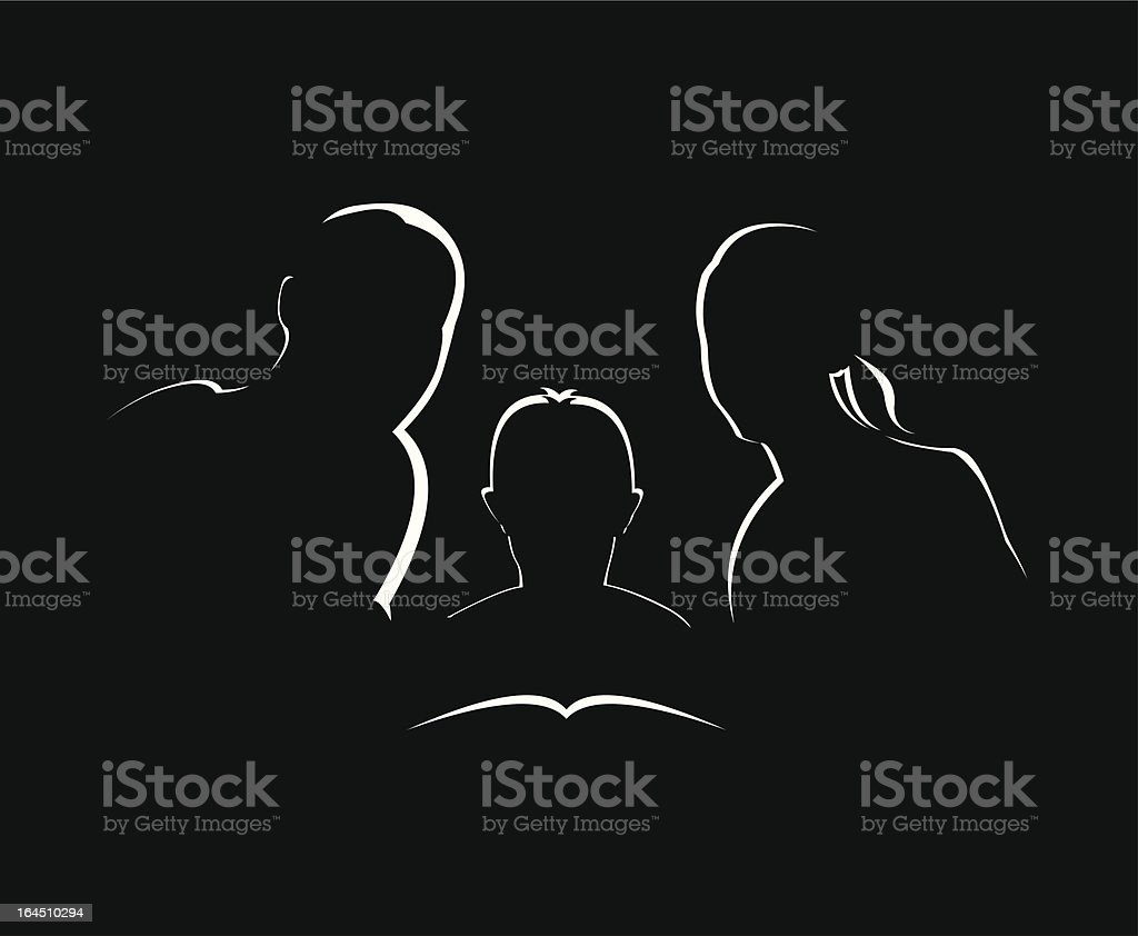 Family studying together royalty-free stock vector art