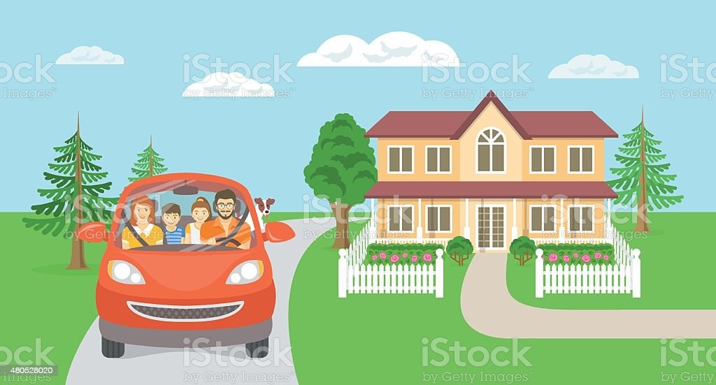 Family summer vacation trip background with house vector art illustration