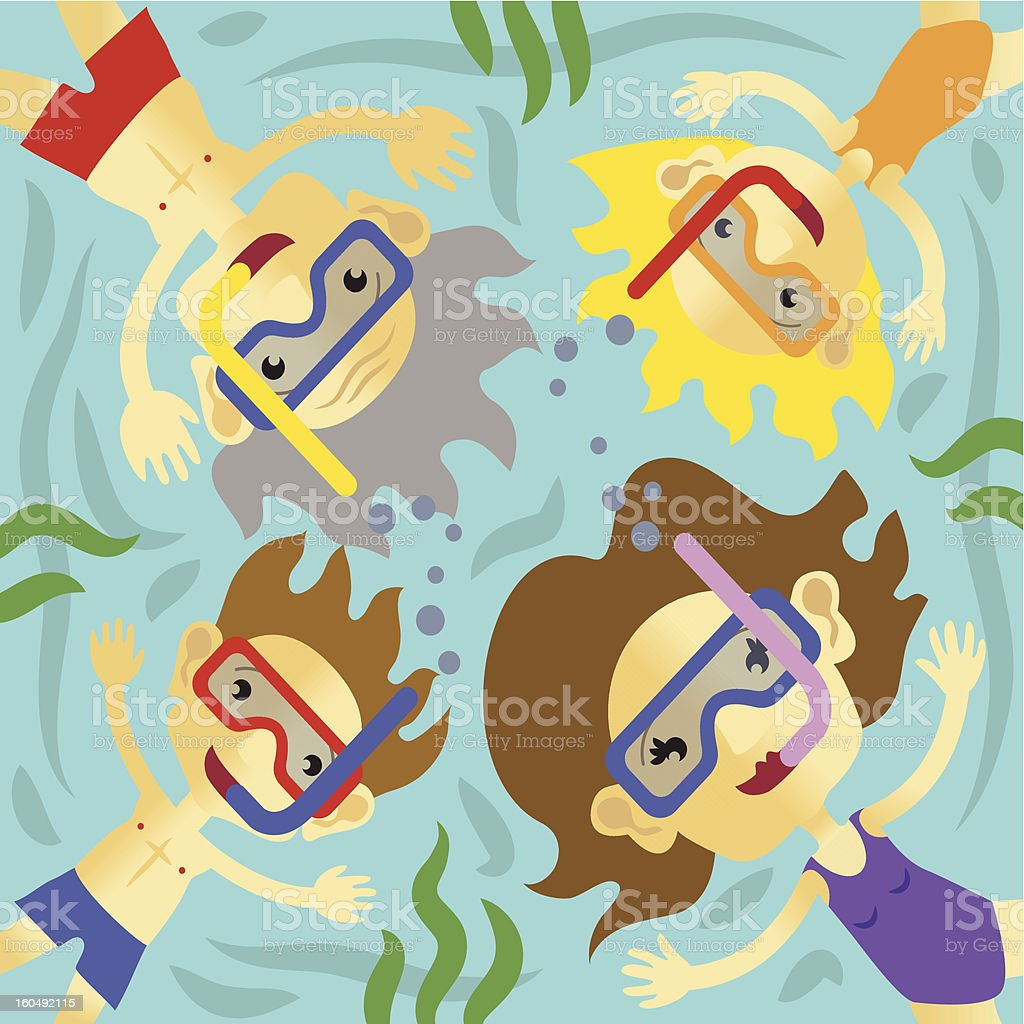 Family swimming in the sea on holiday royalty-free stock vector art