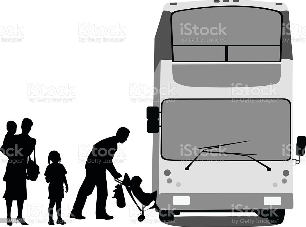 Family Taking Public Transit vector art illustration