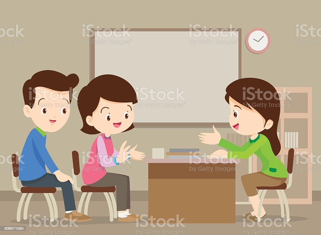 family talking with teacher vector art illustration