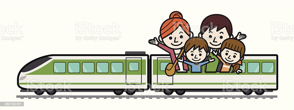 Family Train Trip vector art illustration
