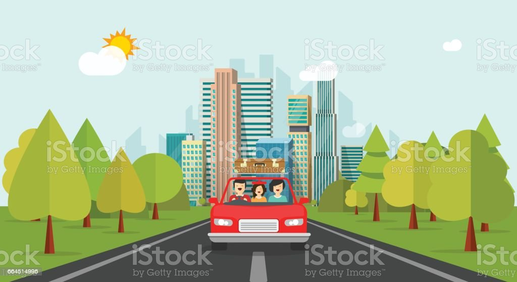 Family travel by car, flat cartoon style happy family with kid travelling together via automobile vector vector art illustration