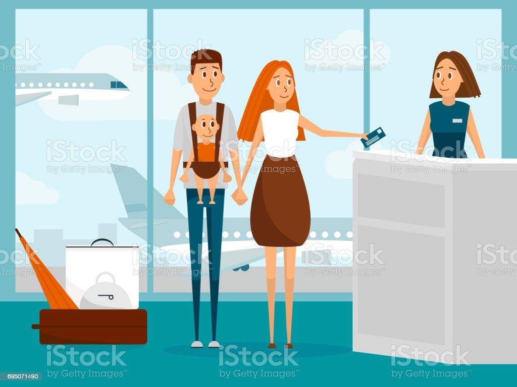 Family travel by plane with newborn baby for the first time. Parents with infant kid check-in for flight in airport. Family vacation concept. Vector illustration with cartoon people characters vector art illustration