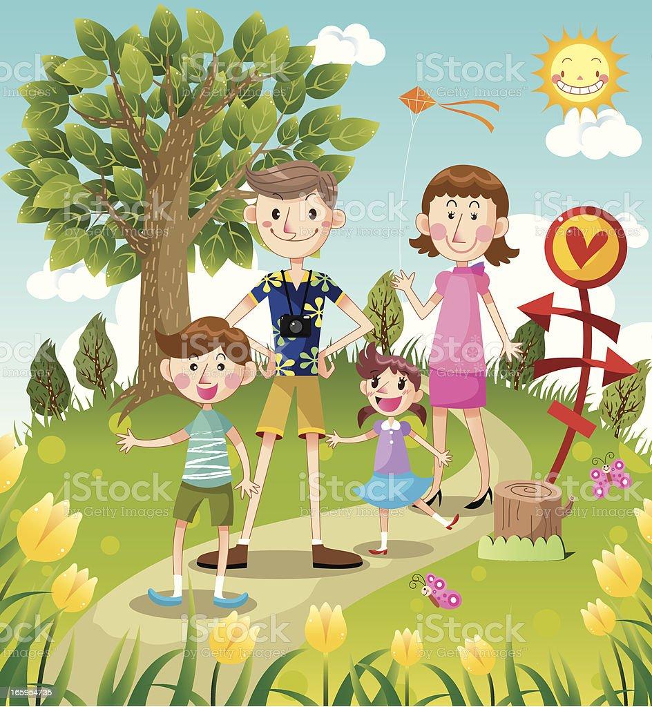 family travel time vector art illustration