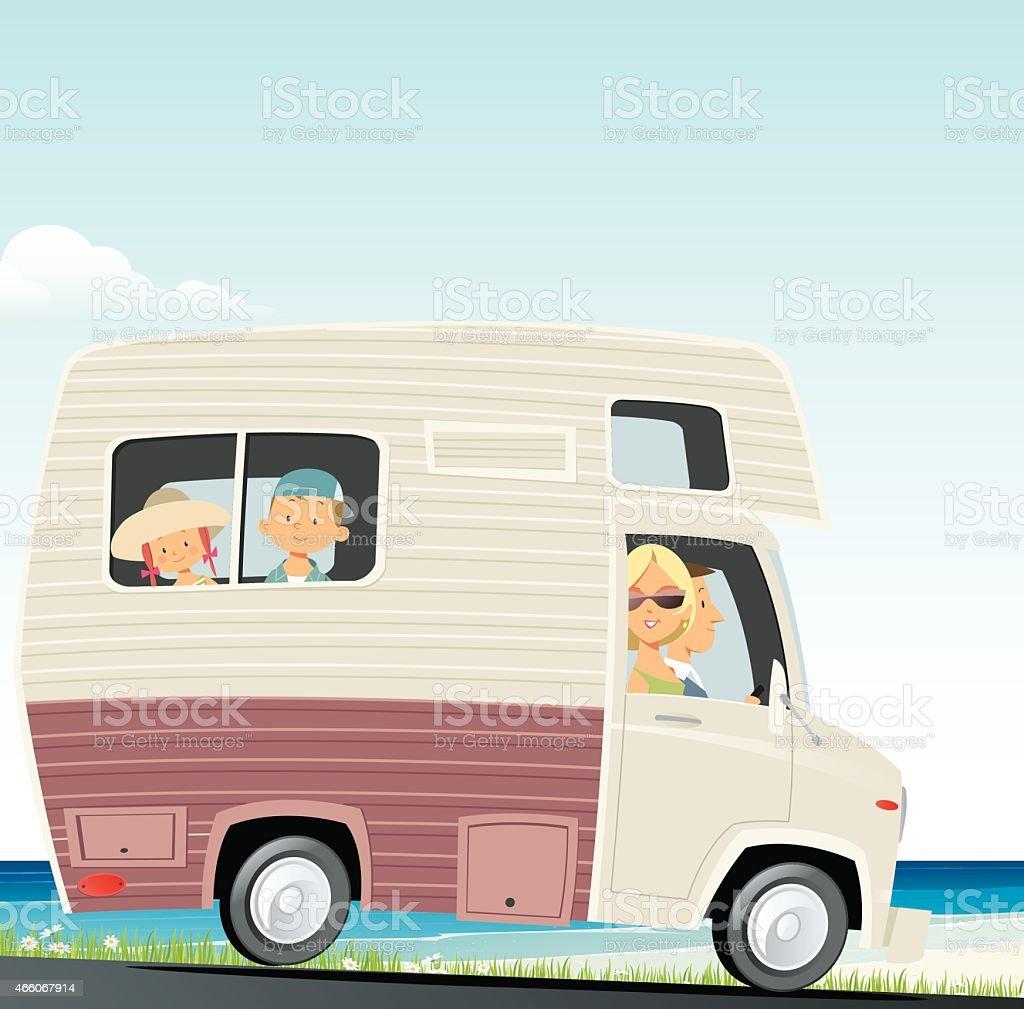 Family traveling vector art illustration