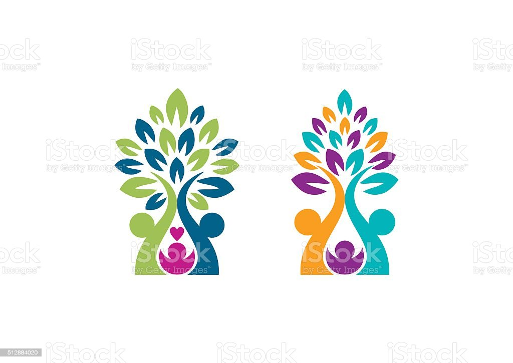 family tree logo, parenting trees symbol icon vector design vector art illustration