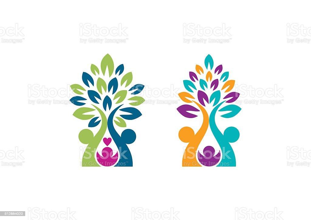 family tree logo, parenting trees symbol icon vector design vector art illustration