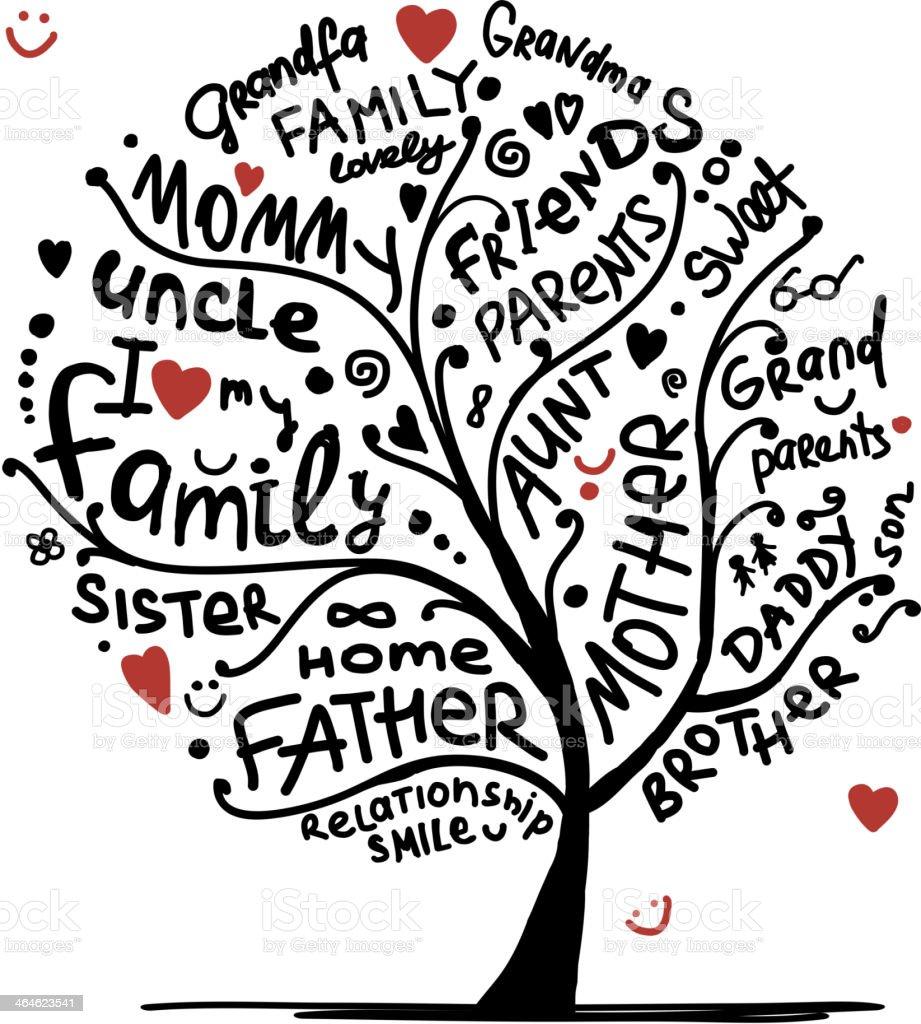 Family tree sketch for your design vector art illustration