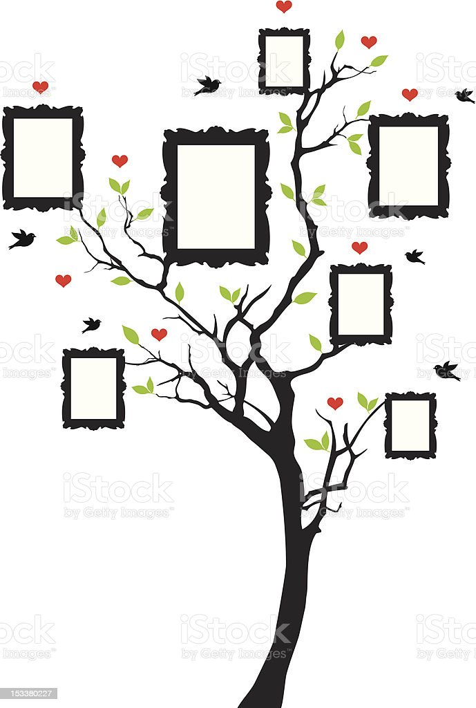 family tree with picture frames royalty-free stock vector art