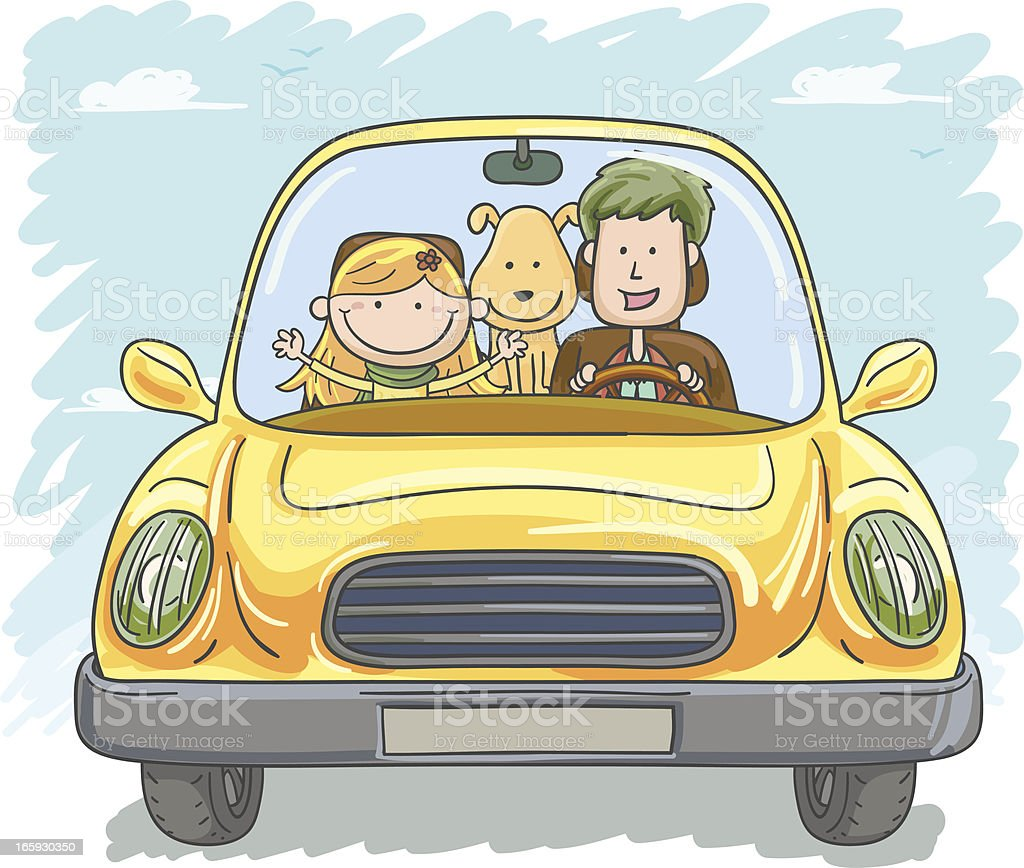 Family trip in cartoon style royalty-free stock vector art