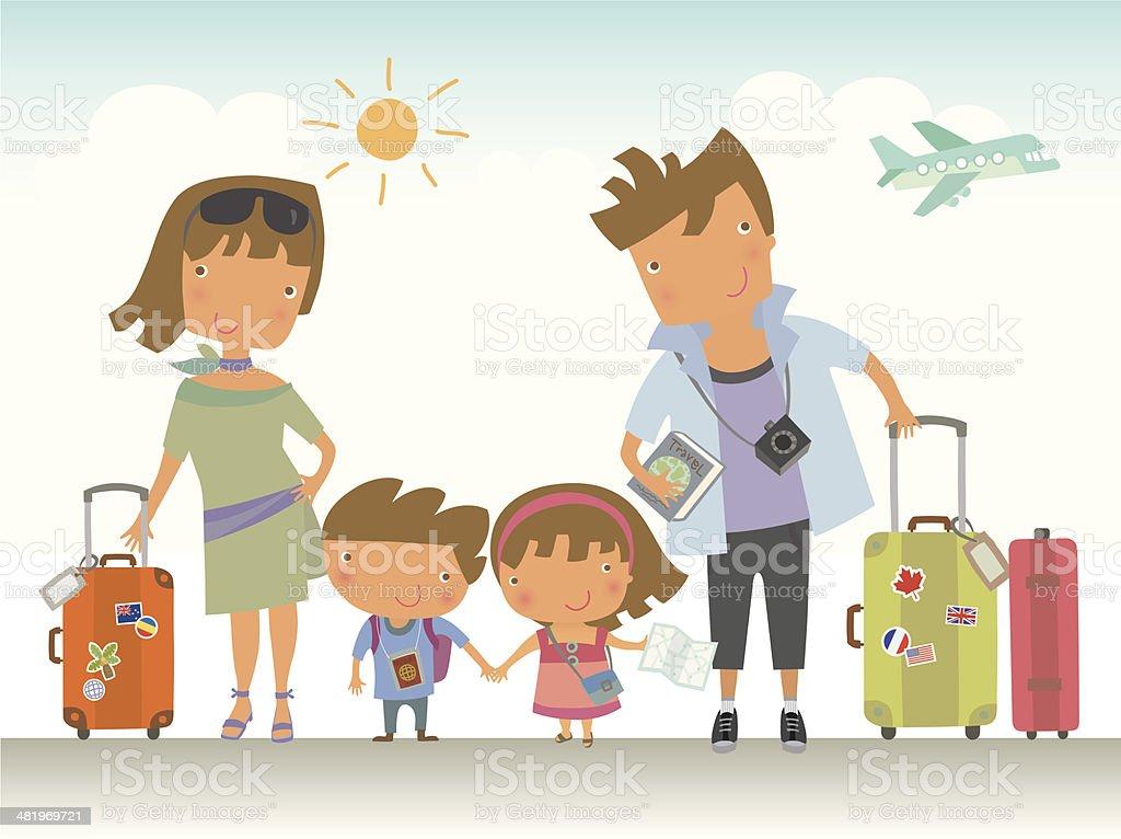 Family Trip vector art illustration