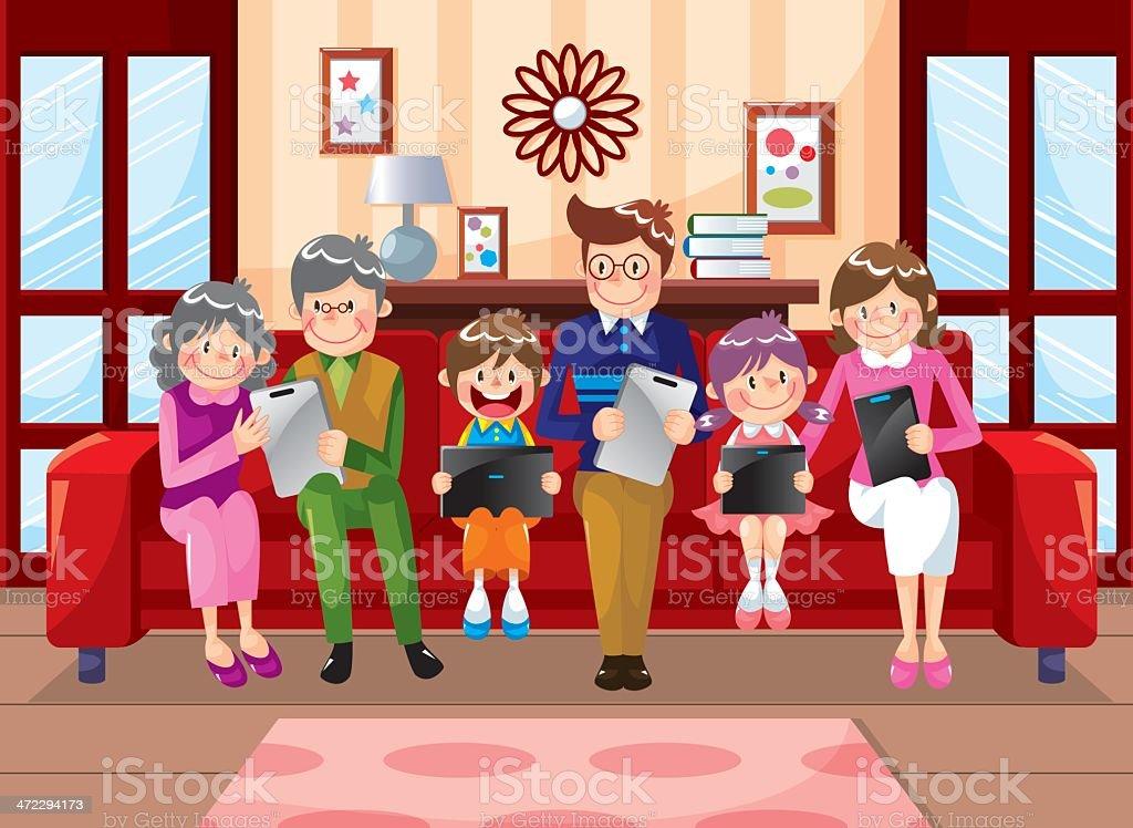 Family using laptop on sofa royalty-free stock vector art