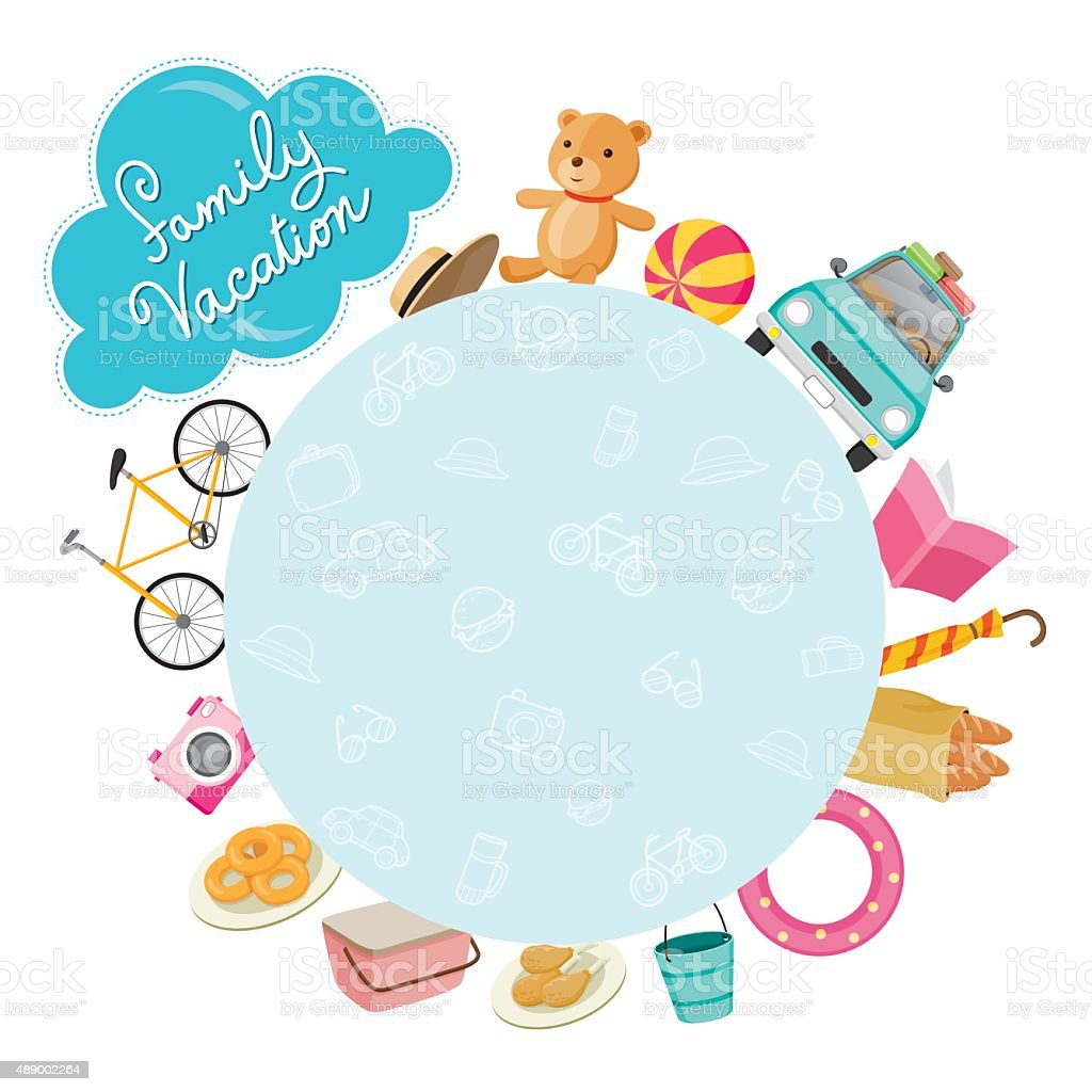 Family Vacation Objects Icons on Round Frame vector art illustration