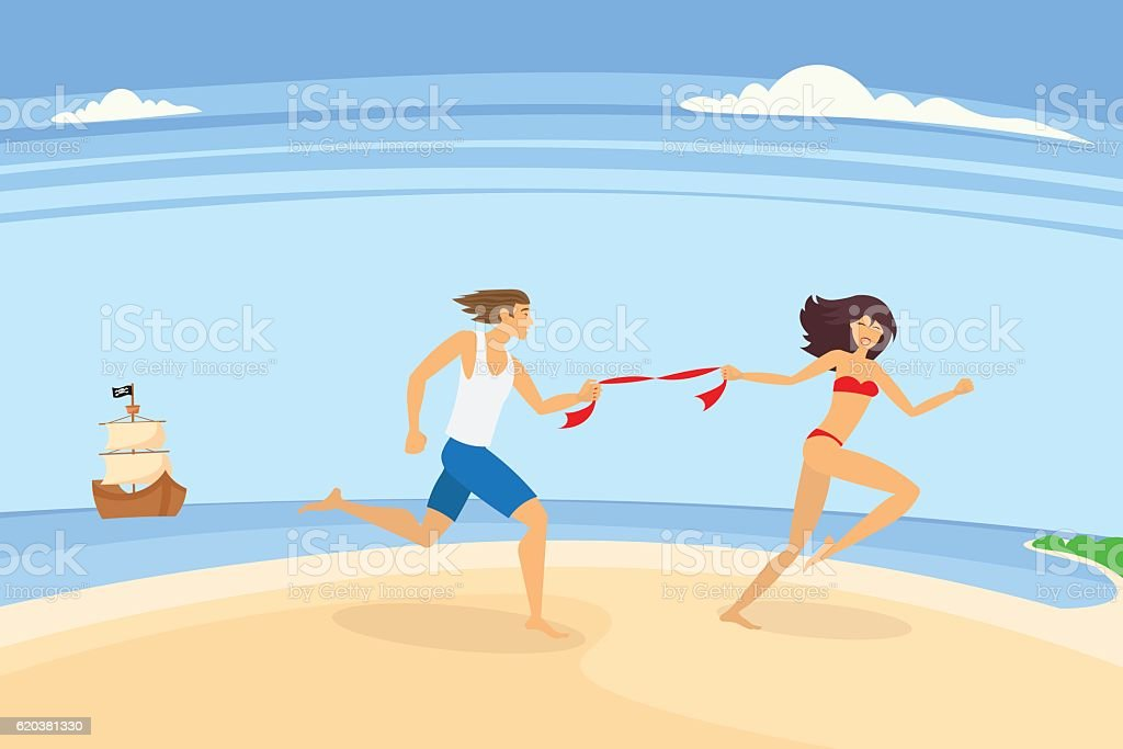 family vacation on the sunny coast of exotic countries vector art illustration