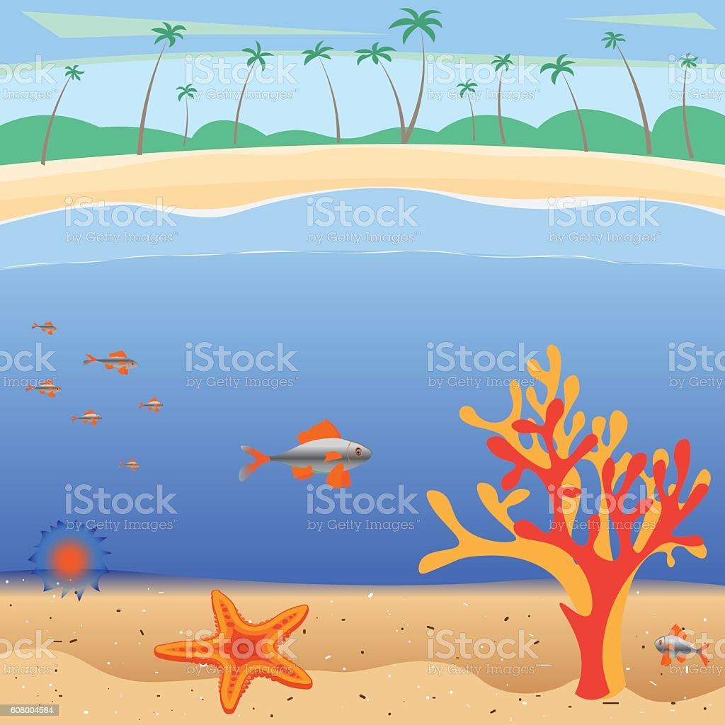 family vacation on the sunny coast vector art illustration