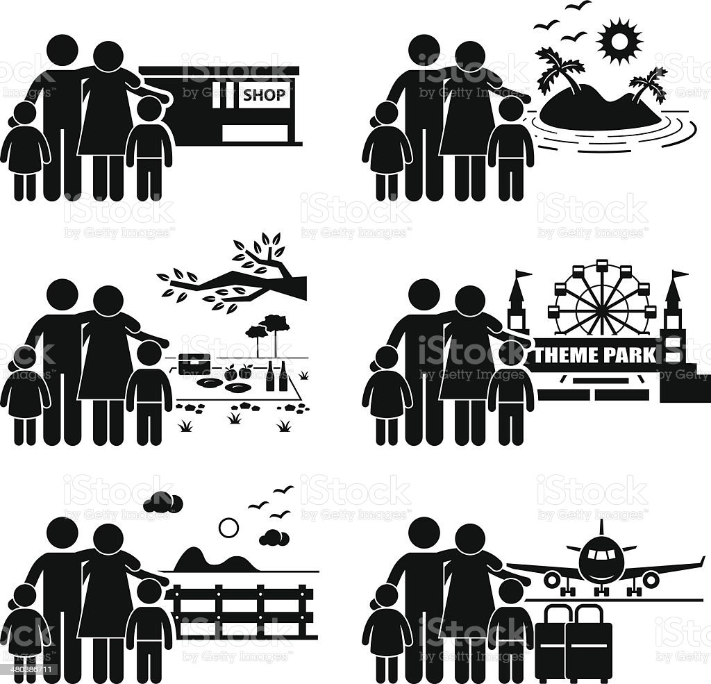 Family Vacation Trip Holiday Recreational Activities vector art illustration