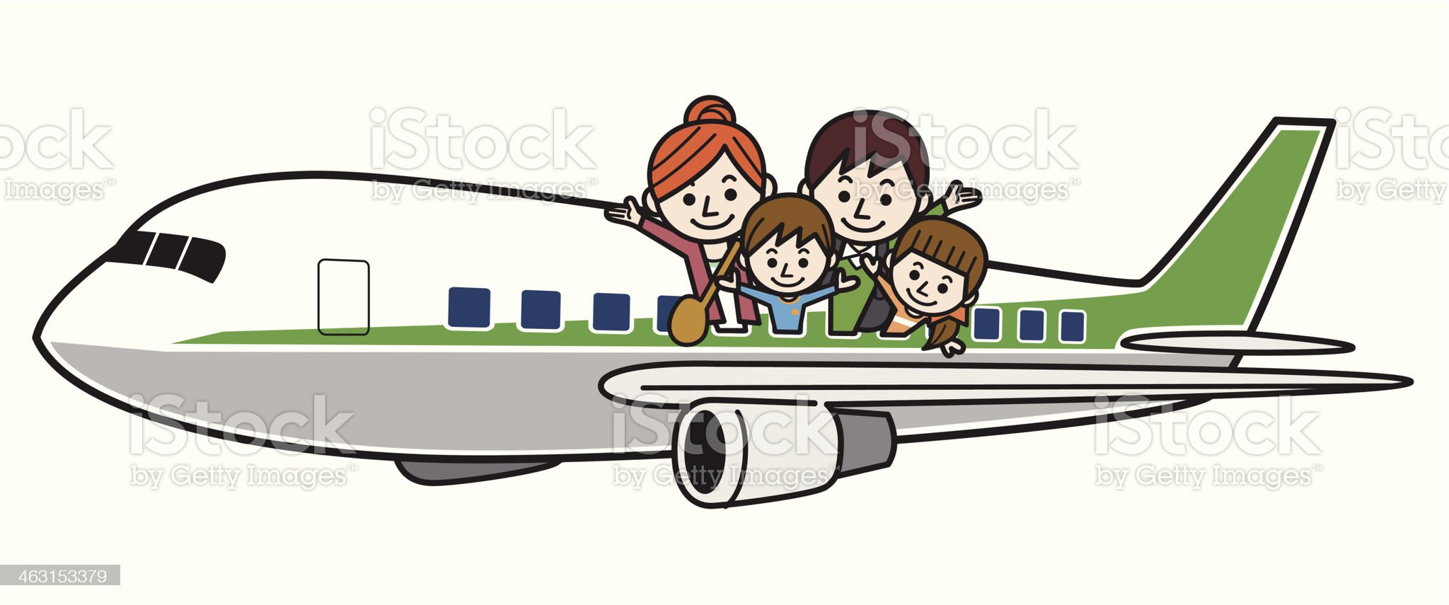 Family vacation trip on an airplane royalty-free stock vector art