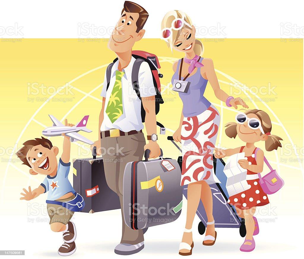 Family Vacation vector art illustration